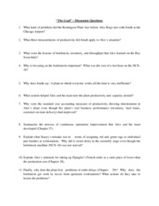 Lecture 7 - The Goal Discussion Questions