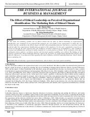 The effects of ethical leadership on perceived organizational identification.  The mediating role of