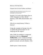 History 1010 Chapter 1 Lecture August 24