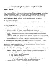Critical Thinking-Ethics Study Guide.doc