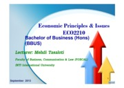 Economic Principles & Issues-ECO2210-BBUS-Topic 4-Consumer Behaviour and Utility Maximisation