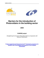 Barriers for the introduction of Photovoltaics in the building sector -public version
