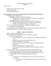 Federal Jurisdiction Class Notes