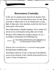 Betweenness centrality notes