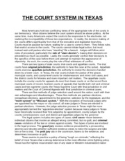 THE COURT SYSTEM IN TEXAS