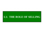 L1 - The Role of Selling