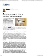 The Serial Backdoor Roth, A Tax-Free Retirement Kitty - Forbes.pdf