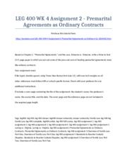LEG 400 Week 4 Assignment 2 - Premarital Agreements as Ordinary Contracts - Strayer University NEW
