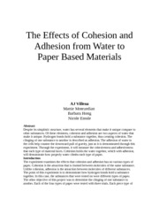 Cohesion and Adhesion Lab Report