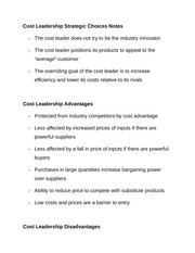 Cost Leadership Strategic Choices Notes