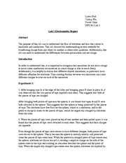 Lab 1 Electrostatics Report
