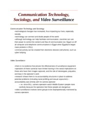 Communication Technology, Sociology, and Video Surveillance