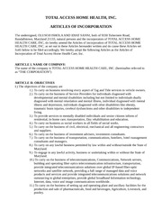 Total Acces Articles of Incorporation (Version 1)
