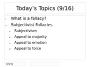 Subjectivist Fallacies