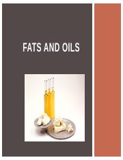 TEST 02 Fats and Oils
