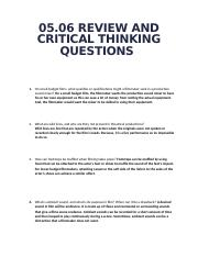 module 9 critical thinking and review Problem solving and critical thinking refers to the ability to use knowledge the section will also review strategies for making ethical decisions, solving problems 8 i found it difficult to evaluate this resume because it was messy 9 i liked it much better when we got to choose the projects instead of being assigned to one.