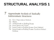 CHAPTER 7-APPROXIMATE ANALYSIS OF STATICALLY INDETERMINATE STRUCTURES