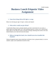 Business Lunch Etiquette Video Assignment