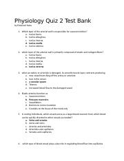 Physiology Quiz 2 Test Bank complete