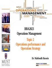 Topic 2 -BBA2023 Operations Management
