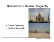 Human Dimensions of Geography- Cultural Geography