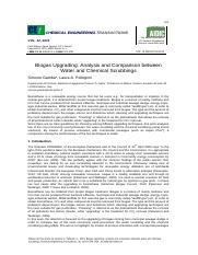 Biogas Upgrading - Analysis and Comparison between water and chemical scrubbings
