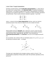 Lecture 3 Notes Triangular Representations