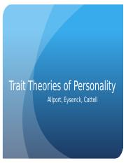 Psy 303 Trait Theories of Personality