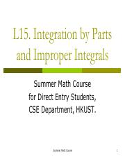 16.Integration by parts and Imporper Integrals