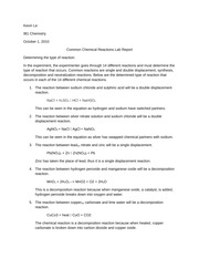 Chemical Reactions lab report