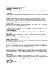 ENG 2222 African American Literature Midterm Studyguide