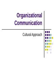 Org Comm - Cultural Approach