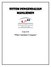 MCS - Case 4-4 Whiz Calculator Company