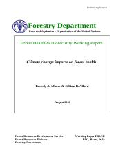 Prelim - Climate change and forest health FAO.doc