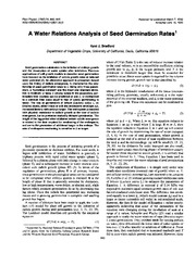 water analysis seed germination
