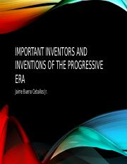 Important Inventors and inventions of the progressive era