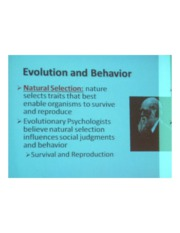 PSYCH 360 Social Psychology - Evolution & Behavior