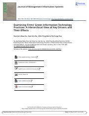 Examining Firms Green Information Technology Practices A Hierarchical View of Key Drivers and Their