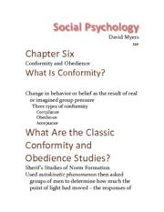 Chapter 6 - Conformity And Obedience