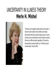 23 Merle H Mishel Uncertainty in Illness Theory.pptx