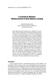 E-Learning in Malaysia Moving Forward in Open Distance Learning
