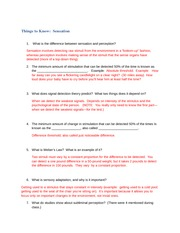 Answers to the Things to Know sheet--Sensation