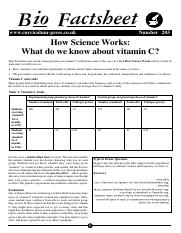 205 How Science Works - What do we know about vitamin C