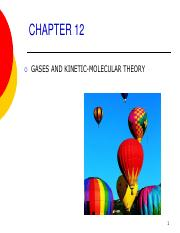 CHAPTER 12 Gases and KMT