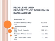 Problems and Prospects Of Tourism In Bangladesh