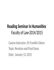 HUM 1-Law faculty(Revision and Final Exam)-Jan 2015.pptx