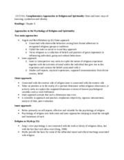 Religion and psychology notes oct.13 and oct.15 chapter 4