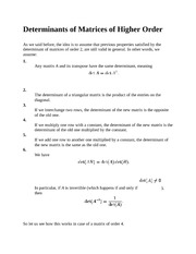 Determinants of Matrices of Higher Order