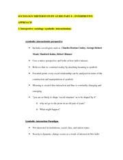 SOCIOLOGY MIDTERM STUDY GUIDE PART 8 – INTERPRETIVE APPROACH