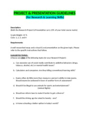 Project for Research n Learning Skills